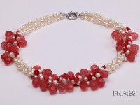 Three-strand 5-6mm White Freshwater Pearl, Red Crystal Beads and Red Coral flower Necklace