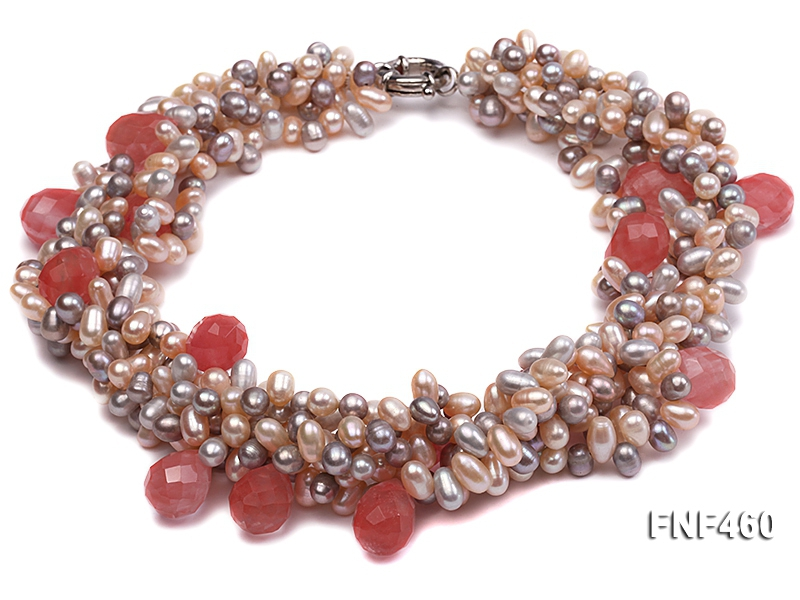 Five-strand 6-7mm Pink and Gray Freshwater Pearl Necklace with Pink Faceted Crystal Beads