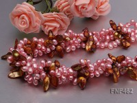Four-strand 6-7mm Pink Freshwater Pearl and Coffee Baroque Pearl Necklace