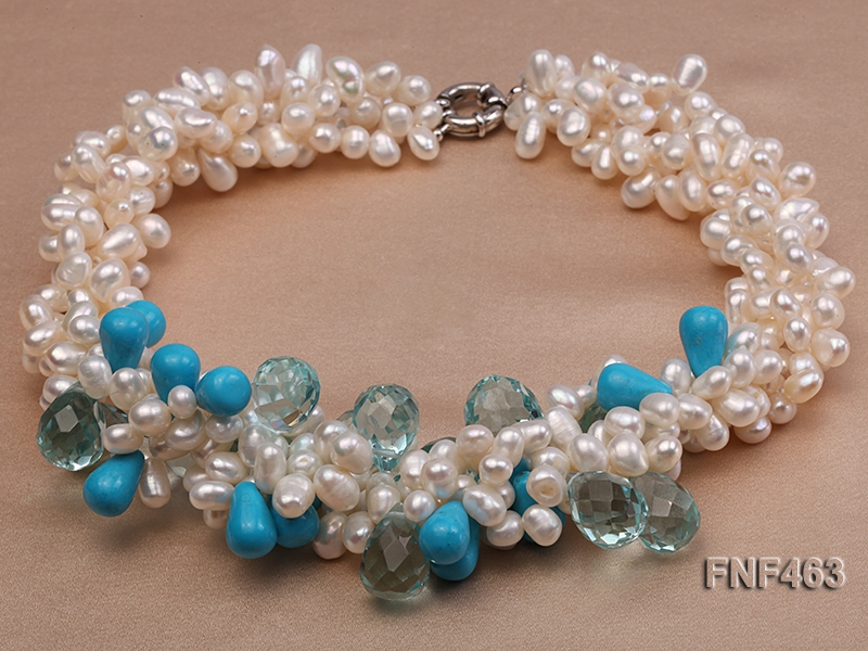 Four-strand 5x7mm White Freshwater Pearl, Blue Crystal Beads and Turquoise Beads Necklace