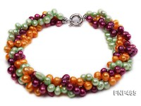 Three-strand 8x10mm Green, Yellow and Aubergine Freshwater Pearl Necklace