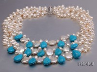 Three-strand 6-7mm White Freshwater Pearl, Button Pearl and Turquoise Beads Necklace