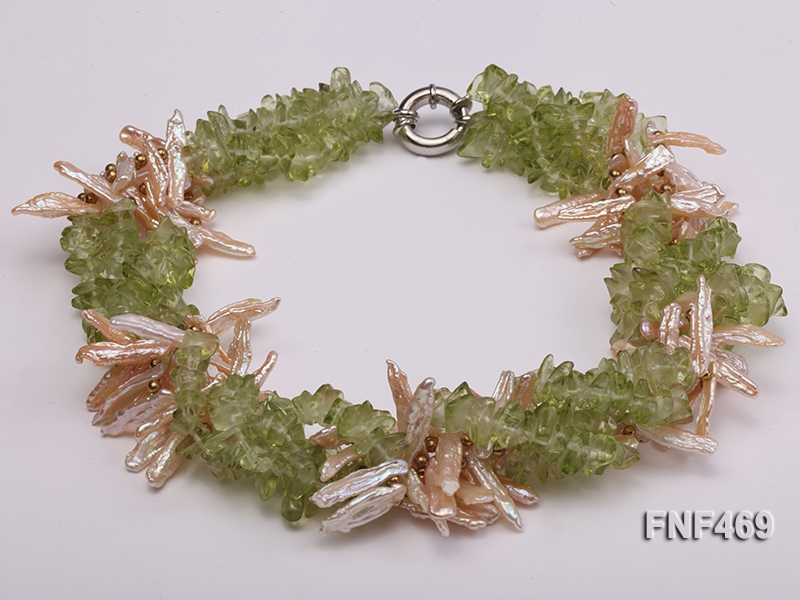 Four-strand 6x20mm Stick Freshwater Pearl and Olivine Chips Necklace