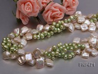 Three-strand 6-7mm Green Freshwater Pearl and White Button Pearl Necklace