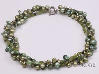 Three-strand 6-7mm Green Freshwater Pearl and Olivine Chips Necklace