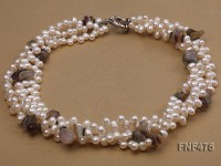 Three-strand 6-7mm White Side-drilled Freshwater Pearl and Fluorite Chips Necklace