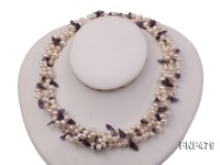 Three-strand 6-7mm White Cultured Freshwater Pearl and Purple Crystal Chips Necklace