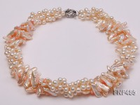 Three-strand White and Light-pink Freshwater Pearl and Red Coral Sticks Necklace
