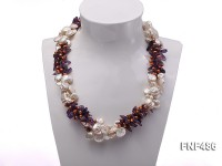 Three-strand White and Coffee Freshwater Pearl and Purple Quartz Chips Necklace