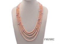 5.5-6mm Natural Pink Round Freshwater Pearl with Big Lavender Pearl Necklace