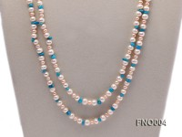 4-5/7-8mm natural white and pink round freshwater pearl with turquoise chips necklace