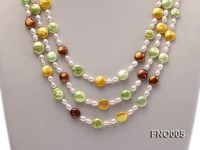 5-6mm rice freshwater pearl with multicolor coin pearl necklace