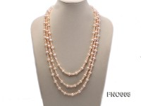 5-6/8-9mm natural white and pink round freshwater pearl necklace