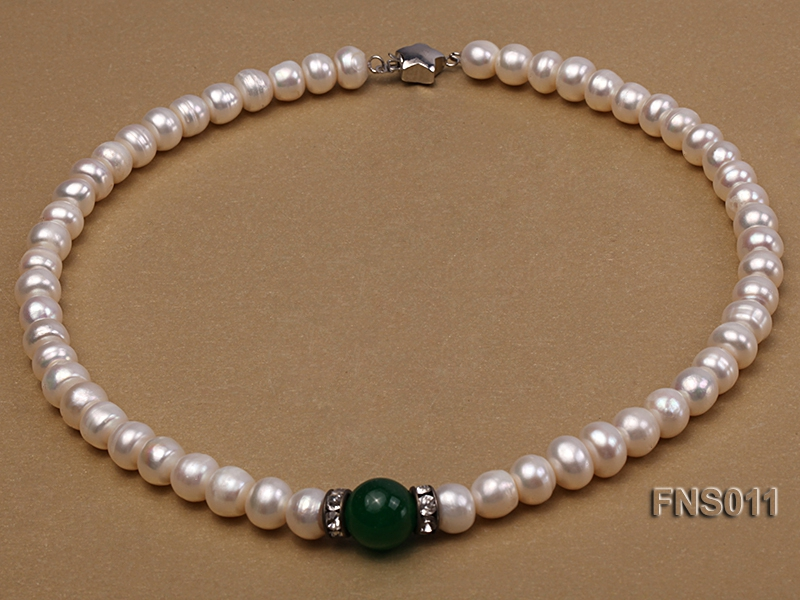 8-9mm natural white flat freswhater pearl with natural jade necklace