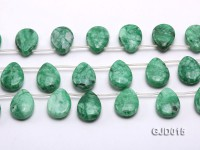 Wholesale 18x25mm Flatly Drip-shaped Korean Jade String