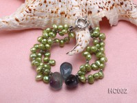 3 strand green freshwater pearl and crystal bracelet