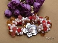 6-7mm white freshwater pearl and crystal bracelet