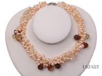 Three-strand 5x9mm Pink Freshwater Pearl Necklace with Crystal Beads