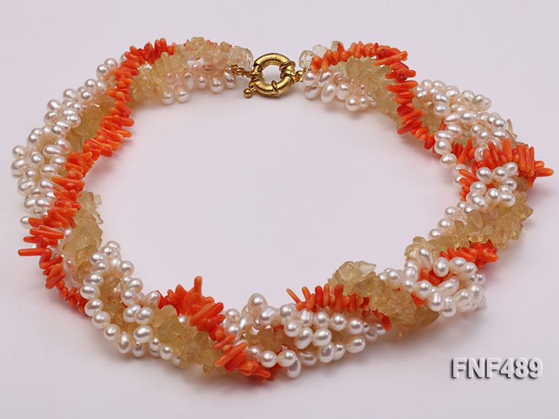 Four-strand 4-5mm White Freshwater Pearls, Orange Coral Sticks and Yellow Crystal Chips Necklace