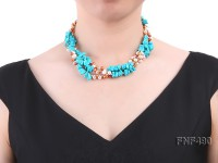 Three-strand White and Coffee Freshwater Pearl and Turquoise Chips Necklace