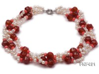 Three-strand White Freshwater Pearl Necklace Dotted with Red Agate Beads and Pink Coral Beads