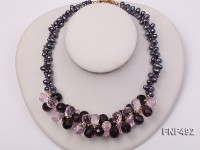 Two-strand 7-8mm Black Freshwater Pearl and Drop-shaped Crystal Beads Necklace