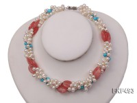 Three-strand 6-7mm White Freshwater Pearl Necklace Dotted with Pink Crystals and Turquoise Beads