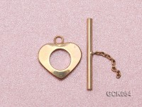 16x20mm Single-strand Heart-shaped Gilded Toggle Clasp