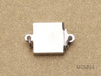 8.5mm Single-strand Square White Gilded Clasp