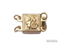 8.5mm Double-strand Square Golden Gilded Clasp
