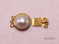 15mm Three-strand Golden Gilded Clasp Inlaid with Imitation Pearl