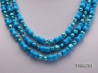 3 strand bule freshwater pearl and turquoise necklace with sterling sliver clasp
