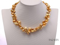 Two-strand 10-11mm Button-shaped Pear Necklace with Golden Metal Beads