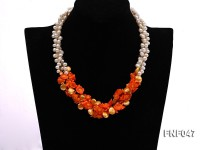 Three-strand 6-7mm White Freshwater Pearl, Golden Button Pearl, and Orange Coral Flowers Necklace