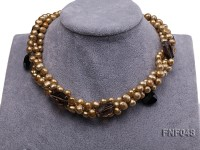 Three-strand 7-8mm Coffee Freshwater Pearl and Tea-colored Faceted Crystal Beads Necklace