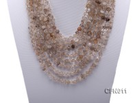 6-10mm Light Yellow Crystal Chips Eight-Strand Necklace