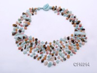 6-10mm Eight-Row Colorful Gemstone Necklace