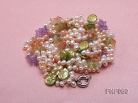 Three-strand Cultured Freshwater Pearl Necklace with colorful Crystal Chips