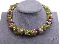 Four-strand 7-8mm Green and Pink Freshwater Pearl Necklace with Olivine Chips and Crystal Chips