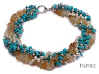 Four-strand White and Grey Freshwater Pearl, Yellow Crystal Chips and Blue Turquoise Chips Necklace