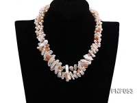 Three-strand 6-7mm White Freshwater Pearl, White Biwa Pearl Sticks and Red Agate Chips Necklace