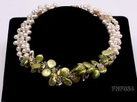 Three-strand White Freshwater Pearl, Green Button Pearl and Crystal Beads Necklace