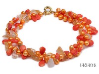 Two-strand 8x9mm Orange Freshwater Pearl, Yellow Crystal Chips and Pink Coral Beads Necklace
