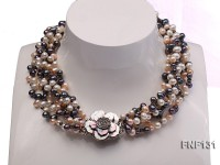 Six-strand 5-6mm White, Pink and Dark-purple Freshwater Pearl Necklace