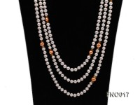 6-7mm white round freshwater pearls alternated with 7-8mm orange pearls necklace