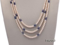 6-7mm white round freshwater pearls alternated with blue pearl and faceted crystal necklace
