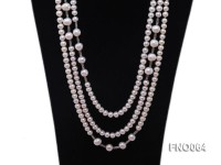 7-7.5mm white round pearls alternated 10-10.5mm white pearls and white gilded tube necklace