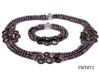 Dark-purple Freshwater Pearl Necklace and Bracelet Set