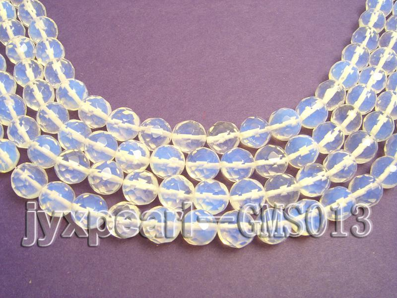 Wholesale 12mm Cream Round Faceted Moonstone String