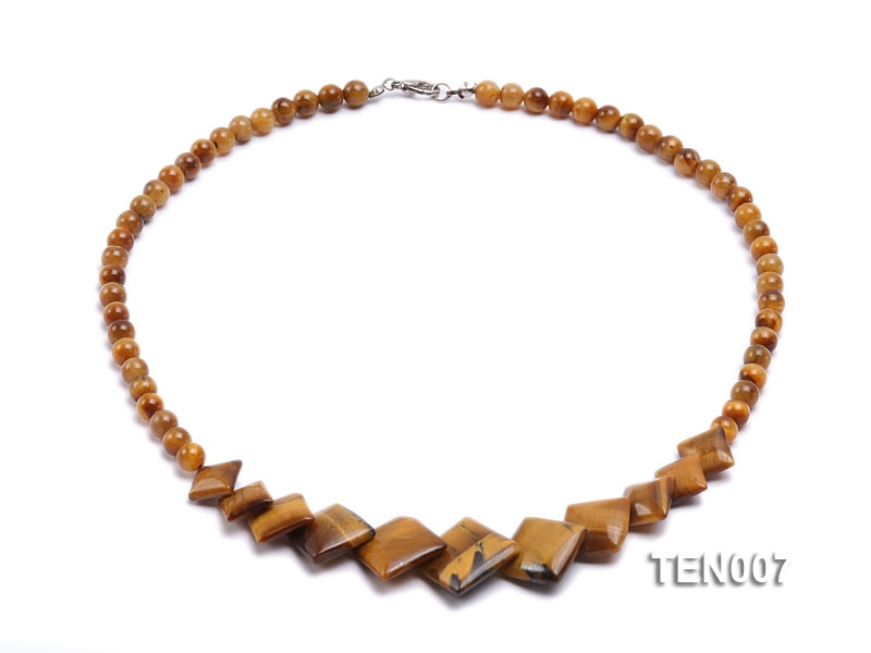 6mm Tiger Eye Beads and Square Tiger Eye Pieces Necklace